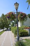 With flowers planted street lantern in Hamburg Royalty Free Stock Photos