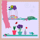 Flowers, plants, birdcage and macaroons on windowsill Stock Image