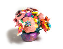 Flowers from plasticine Stock Photo