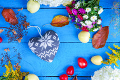 Flowers, plums, apples and heart shape Stock Images