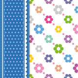 Flowers and polka dot greeting card Royalty Free Stock Photo
