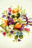 Flowers on porcelain. Colorful flowers banquet on porcelain Stock Photography