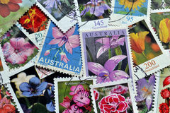 Flowers on postage stamps Royalty Free Stock Image