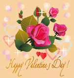Flowers , postcard . valentine's day Royalty Free Stock Image