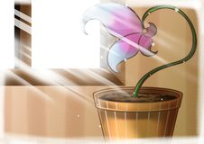 Flowers in pot with sunlight royalty free illustration