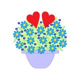 Flowers in a pot and two hearts. royalty free illustration