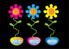 Flowers in the pots. Abstract colorfully flowers in the pots vector illustration