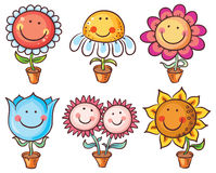 Flowers in pots as cartoon characters with faces. Flowers in pots as happy cartoon characters with faces Royalty Free Stock Images