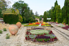 Flowers and pots in the botanical gardens in Balchik town, Bulga Royalty Free Stock Photography