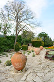 Flowers and pots in the botanical gardens in Balchik town, Bulga Stock Images
