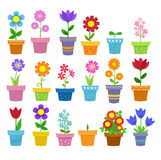 Flowers in pots - clip art. Spring Illustration. Royalty Free Stock Images