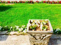 Flowers pots in front of house Stock Images