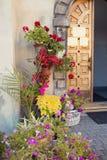 Flowers in pots near monastery.  Lviv, Ukraine. Stock Images