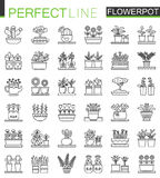Flowers in pots outline concept symbols. Flowerpot thin line icons. Modern linear style illustrations set. Stock Photography