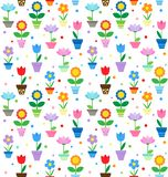 Flowers in pots pattern Royalty Free Stock Photography