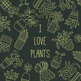 Flowers in pots plants doodle line vector set. Banner template stock illustration