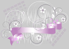 Flowers and purple ribbon on a gray background Royalty Free Stock Photography