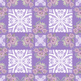 Flowers purple seamless pattern lace background Stock Images