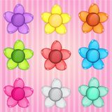 Flowers puzzle colorful button glossy jelly in different color. 2d asset for user interface GUI in mobile application or casual video game. Vector for web or Royalty Free Stock Images