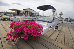 Flowers on the quay ve yachts. Transport stock images
