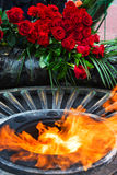 Flowers at the quenchless flame dedicated to victory World Royalty Free Stock Photos