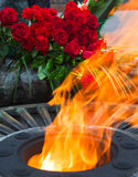 Flowers at the quenchless flame dedicated to victory World Royalty Free Stock Photography