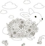 Flowers rabbit, coloring page anti-stress Stock Photos