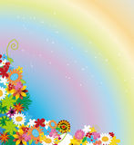 Flowers and rainbow against sky Stock Images