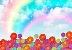 Flowers on rainbow cloud sky collage Stock Photos
