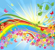Flowers and rainbow Stock Photo