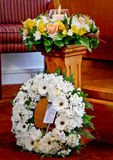 Flowers ready for funeral service. Shot of flower for funeral royalty free stock images