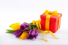 Flowers and red gift box. Royalty Free Stock Photos