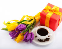 Flowers and red gift box. Royalty Free Stock Photo
