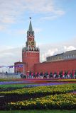 Flowers on the Red Square Royalty Free Stock Photos