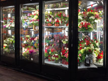 Flowers in refrigeration selling Stock Images