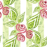 Flowers retro abstract seamless pattern texture on green striped Stock Photography