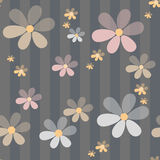 Flowers retro abstract seamless pattern texture striped backgrou Stock Image