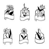Flowers retro badges Stock Image