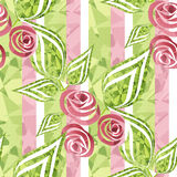 Flowers retro modern abstract seamless pattern texture on stripe Stock Photography