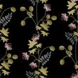 Flowers retro seamless pattern on black Royalty Free Stock Image