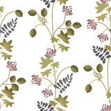 Flowers retro seamless pattern on white Royalty Free Stock Photography