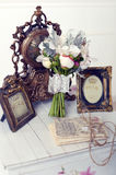 Flowers Retro. Wedding retro details woden desk Stock Photo