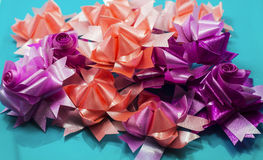 Flowers ribbon. The flowers made from ribbon Stock Photos