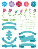 Flowers and Ribbons Design Elements. A Collection of design elements with flowers and ribbons for your web and print projects Royalty Free Stock Image