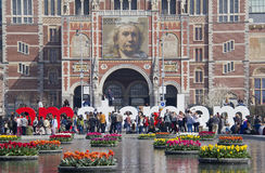 Flowers at the Rijksmuseum in Amsterdam, Holland Royalty Free Stock Image