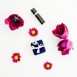 Flowers, ring box and women`s accessories isolated on white background. Flat lay, Top view Stock Image