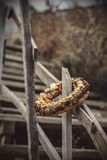 Flowers ring on stairs to the beach Royalty Free Stock Images