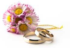 Flowers and rings Royalty Free Stock Photography