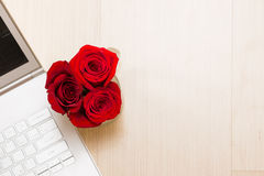 Flowers, rose. Beautiful, red bouquet in the pot Royalty Free Stock Image