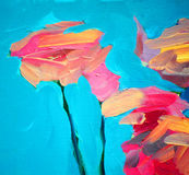 Flowers of a rose and blue sky, painting Stock Images